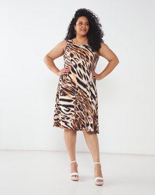 Queenspark Plus Collection Sleeveless Animal Printed Umbrella Knit Dress Brown