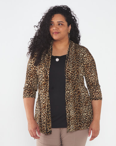 Queenspark Plus Collection Animal Printed Twofo Knit Top Brown