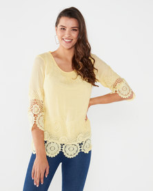 Miss Cassidy By Queenspark Bewitched Lace Trim Woven Top Yellow