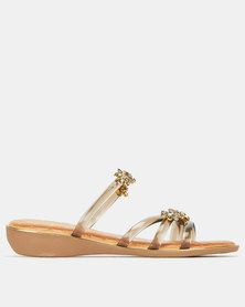 Queenspark 4 Strap Crystal Daisies Low Wedges Taupe