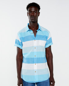 JCrew Horizontal Multi Stripe Shirt Blue