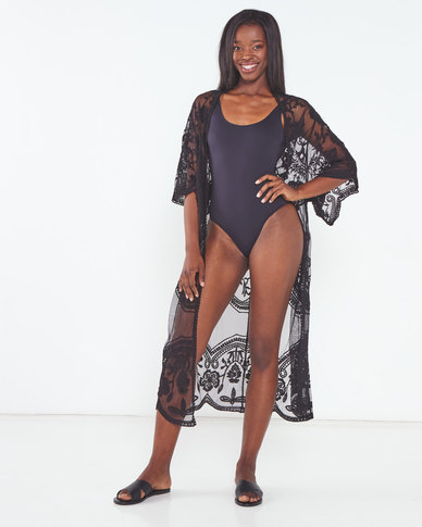 Talooshka Long Lace Open Kaftan Black