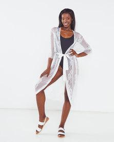 Yarin Amram Long Stripe Lace Gown White