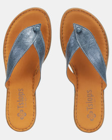 Tslops Leather Slip On Sandals Spazio Grid Blue
