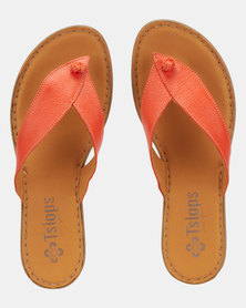 Tslops Leather Slip On Sandals Apricot