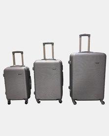 HappyDeals- 3 Pcs Luggage Set-Silver