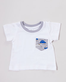 Kapas Boys Car T-Shirt White