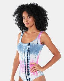 Paige Smith Tie Dye Basic Band Bodysuit Blue/Pink