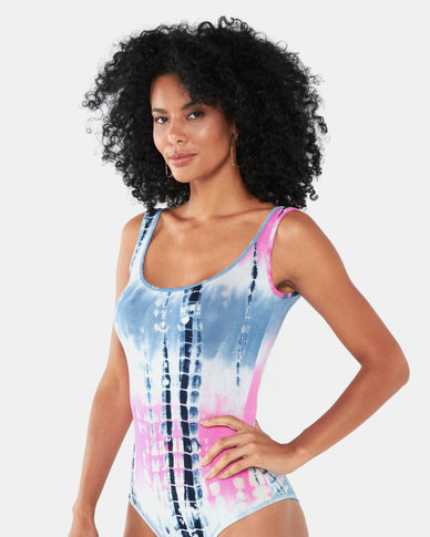 Paige Smith Tie Dye Basic Band Bodysuit Blue/Pink