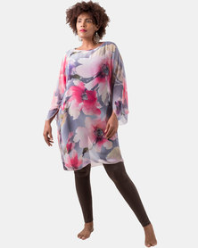 Kaku Designs Summer Kimono Pink and Grey Floral