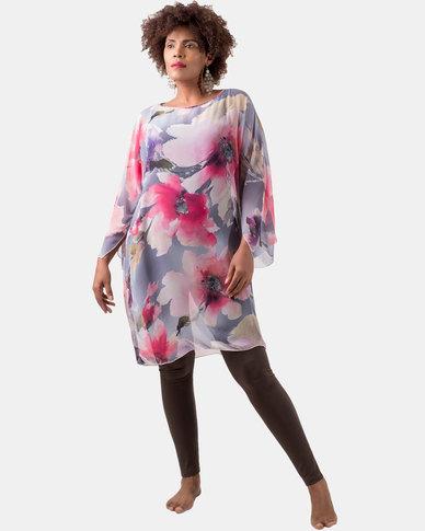 Kaku Designs Summer Kimono Pink and Grey Floral