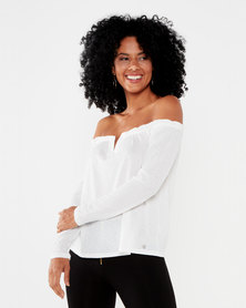 Sissy Boy Young Hearts Bardot Top Off White