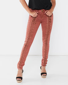 Utopia Skinny Jeans With Lace Up Detail Rust