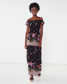 Utopia Floral Shirred Maxi Dress Black