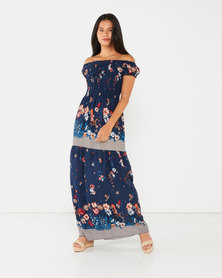 Utopia Floral Shirred Maxi Dress Navy