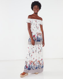 Utopia Floral Shirred Maxi Dress White