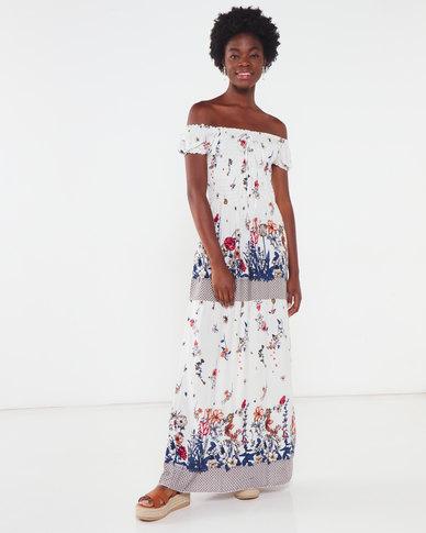 Utopia Floral Shirred Maxi Dress White