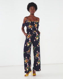 Utopia Floral Viscose Jumpsuit Navy
