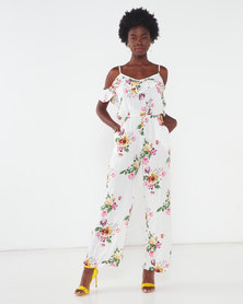 Utopia Floral Viscose Jumpsuit White