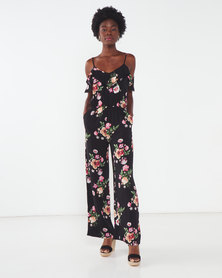 Utopia Floral Viscose Jumpsuit Black