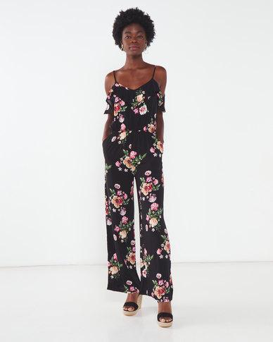 Utopia Floral Viscose Jumpsuit Black