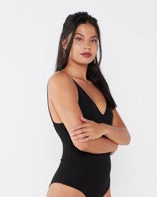 Paige Smith V Neck Bodysuit Black
