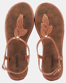 Via Beach Marble Leaf Thong Sandals Black