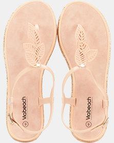 Via Beach Marble Leaf Thong Sandals Nude