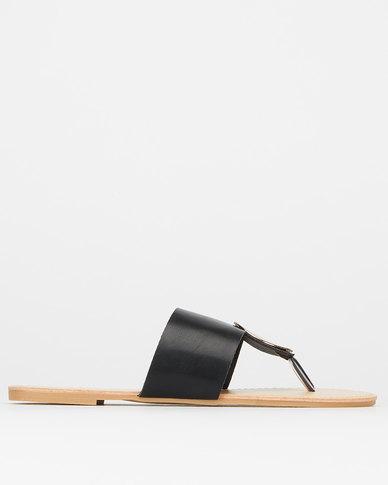 Legit Thick Vamp Flat Thong With Round Metal Trim Black