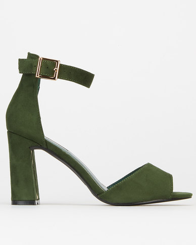 Legit Sandal With Metal Strip Insert On Block Heel Bottle Green
