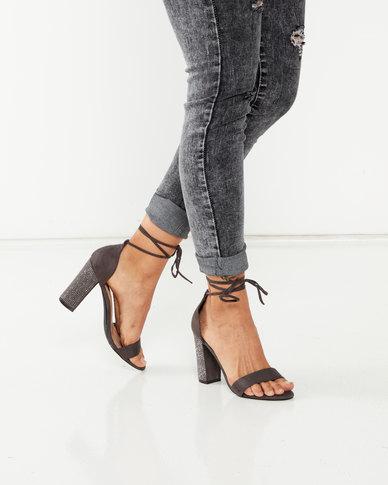 Legit S19 Embellished Block Heel Lace Up Sandals Charcoal