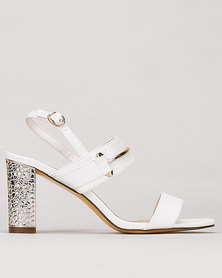 Gino Paoli Metal Strap Glitter Heels White