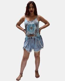 SKA Tie Dye Pom Pom Shorts Blue