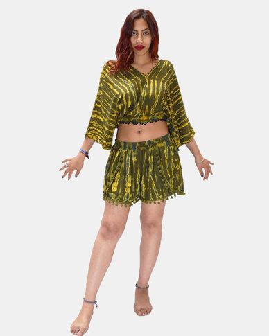 SKA Tie Dye Pom Pom Shorts Green