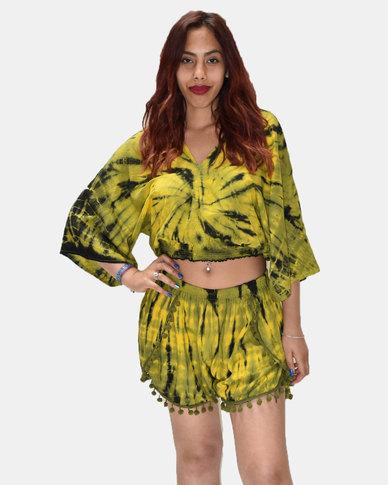 SKA Tie Dye Pom Pom Shorts Yellow