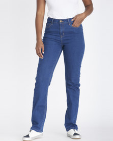 Contempo Straight Mid Rise Jeans Blue