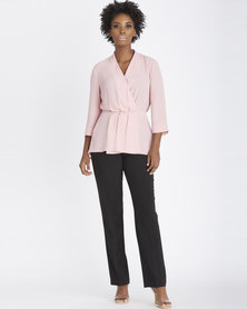 Contempo Pleated Wrap Top Pink