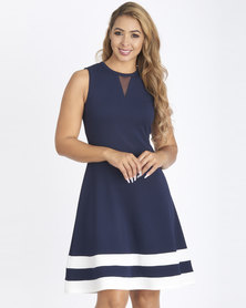 Contempo Colour Block Flare Dress Navy