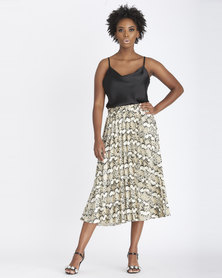 Contempo Printed Pleated Skirt Stone