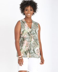 Contempo Sleeveless Pleat Top Khaki