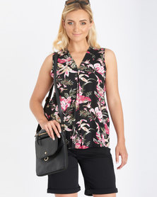 Contempo Sleeveless Pleat Top Black