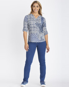 Contempo Printed Burnout Henley Navy