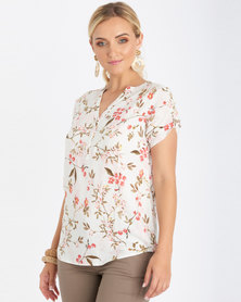Contempo Short Sleeve Printed Henley Ivory