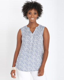 Contempo Printed Sleeveless Top Blue