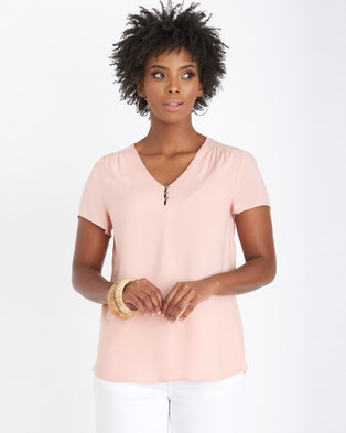 Contempo Viscose Blouse With Metal Buttons Pink
