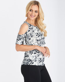 Contempo Cold Shoulder Top Black