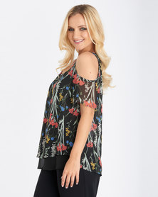 Contempo  Multi Printed Cold Shoulder Top Black