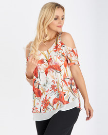 Contempo Multi Printed Cold Shoulder Top Ivory