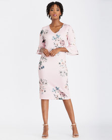 Contempo Multi Frill Sleeve Printed Dress Pink