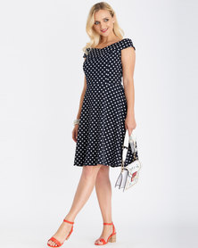 Contempo Printed Flare Dress Navy
